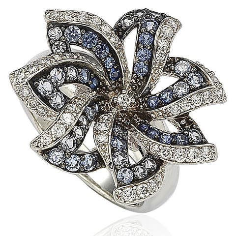 Suzy L. Sapphire and Diamond in Sterling Silver and 18K Gold Flower Ring - Blue