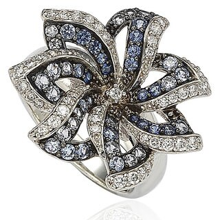 Suzy Levian Sapphire and Diamond in Sterling Silver and 18K Gold Flower Ring - Blue