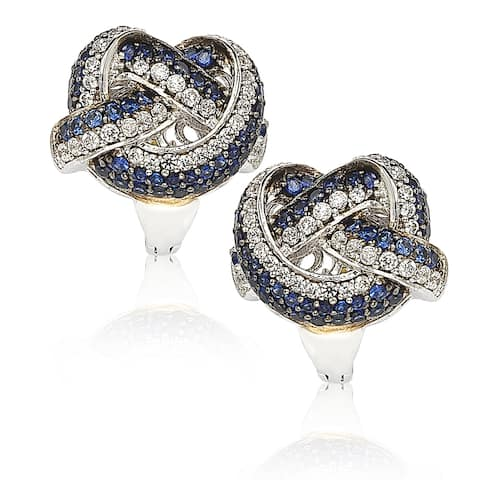 Suzy L. Sapphire and Diamond in Sterling Silver and 18K Gold Earring