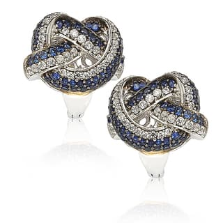 Suzy Levian Sapphire and Diamond in Sterling Silver and 18K Gold Earring|https://ak1.ostkcdn.com/images/products/10394991/P17497947.jpg?impolicy=medium