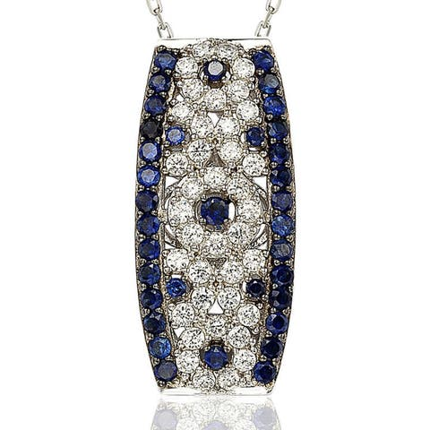 Suzy L. Sapphire and Diamond in Sterling Silver and 18K Gold Pendant - Blue