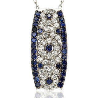 Suzy Levian Sapphire and Diamond in Sterling Silver and 18K Gold Pendant|https://ak1.ostkcdn.com/images/products/10394993/P17497948.jpg?impolicy=medium