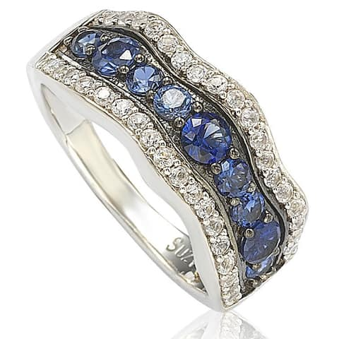 Suzy Levian Sapphire and Diamond in Sterling Silver and 18K Gold Wavy Ring