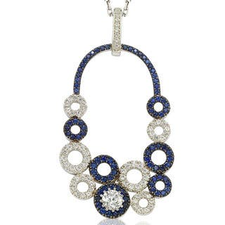 Suzy Levian Multi-Circle Sapphire and Diamond Pendant in Sterling Silver and 18K Gold|https://ak1.ostkcdn.com/images/products/10395003/P17497953.jpg?impolicy=medium
