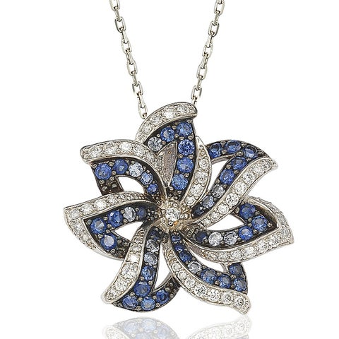 Suzy Levian Sapphire and Diamond in Sterling Silver and 18K Gold Pendant - Blue
