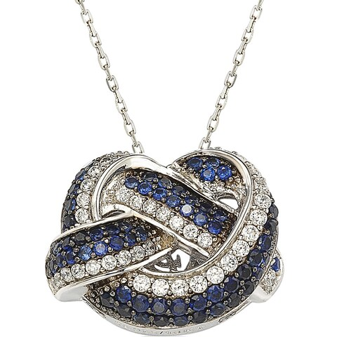 Suzy Levian Sterling Silver and 18K Gold Sapphire and Diamond Love Knot Pendant