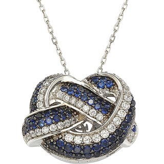 Suzy Levian Sterling Silver and 18K Gold Sapphire and Diamond Love Knot Pendant|https://ak1.ostkcdn.com/images/products/10395022/P17497957.jpg?impolicy=medium
