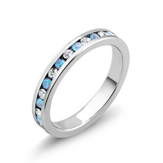 Rhodium-plated Cubic Zirconia Aqua and Clear March Birthstone Eternity Band