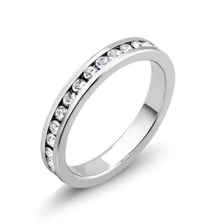 Rhodium-plated Cubic Zirconia Eternity Band