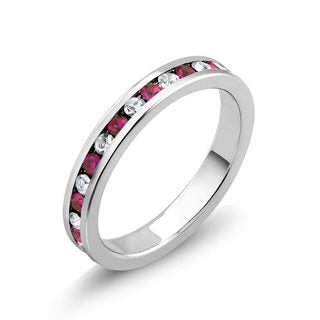 Rhodium-plated Cubic Zirconia Ruby and Clear July Birthstone Eternity Band
