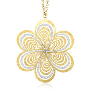 Goldplated Silver Two-tone Glitter Filligree Flower Necklace