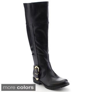 Nature Breeze Kimo-02 Women's Classic Apron Rear Zipper Knee High Riding Boots