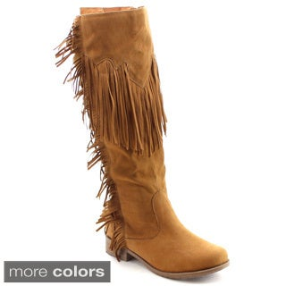 Nature Breeze Women's Fringe Side Zip Knee High Boots