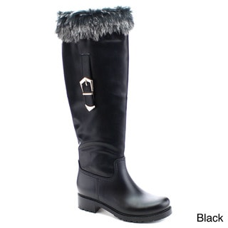 NATURE BREEZE STORM-03 Women's Buckled Side Zipper Riding Knee High Winter Boots