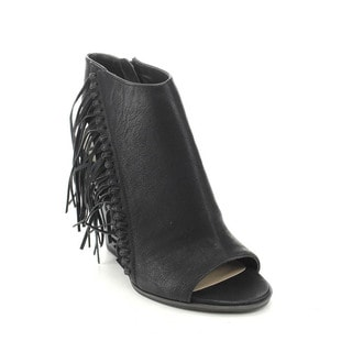 C Label Alamo-2 Women's Boho Fringe Side Zip Stacked Chunky Heel Ankle Booties