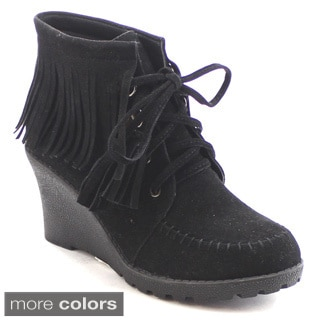 Nature Breeze Godiva-03 Women's Cute Fringe Lace-up Wedge Moccasin Dress Bootie