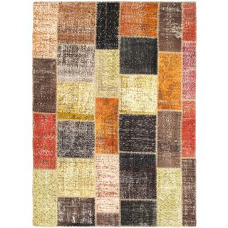 Ecarpetgallery Ottoman Yama Patchwork Gold Wool Abstract Rug (5'7 x 7'9)