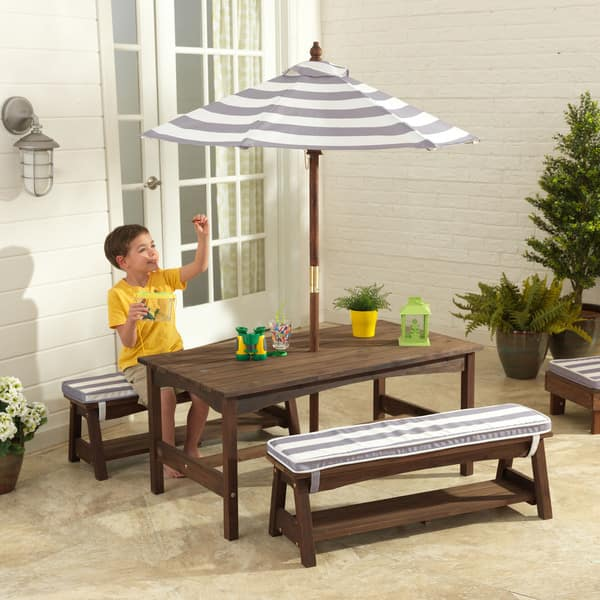 Strange Shop Kidkraft Grey And White Outdoor Table And Bench Set Machost Co Dining Chair Design Ideas Machostcouk