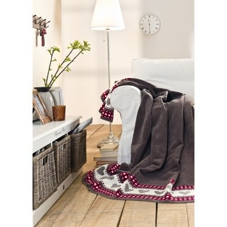 IBENA Sorrento Heart Border Oversized Throw