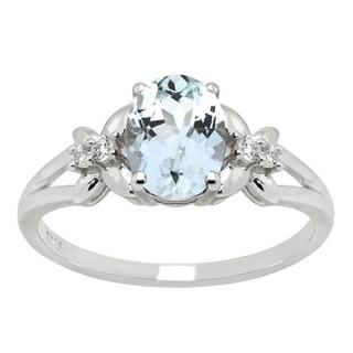 De Buman Aquamarine and Cubic Zircon 925 Silver Ring