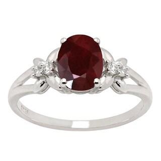 De Buman 1.73ctw Ruby and Zircon 925 Silver Ring