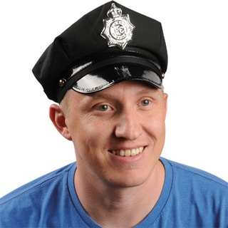 Black Police Officer Hat Costume with Silvertone Plastic Badge