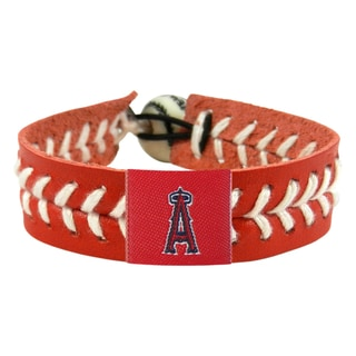 Los Angeles Angels Team Color Baseball Leather Stitch Bracelet