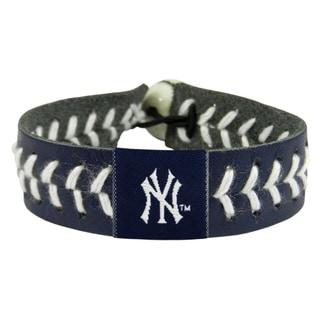 New York Yankees Team Color Baseball Leather Stitch Bracelet