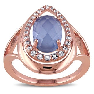 Miadora Rose Plated Silver Blue Chalcedony and White Topaz Ring