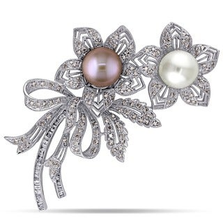 Miadora Signature Collection 18k White Gold Multi-color Pearl with 1 7/8ct TDW Brown and White Diamond Pin Brooch (G-H, SI1-SI2)