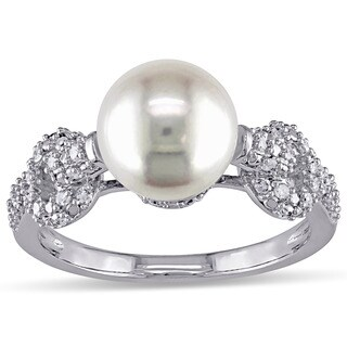 Miadora 10k White Gold Freshwater White Pearl and 1/4ct TDW Diamond Ring (G-H, I2-I3)