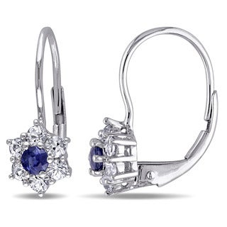Miadora 10k White Gold Blue and White Sapphire Dangle Earrings