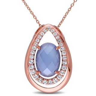 Miadora Rose Plated Silver Blue Chalcedony and White Topaz Necklace