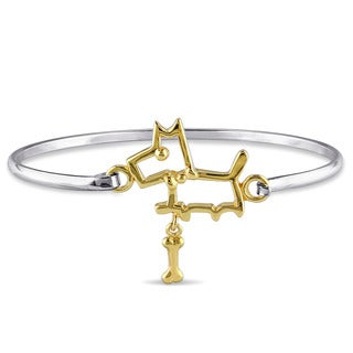 Miadora Two-tone Silver Dog Children's Bangle Bracelet