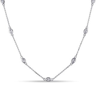 Miadora 14k White Gold 4/5ct TDW Diamond Necklace (G-H, SI1-SI2)