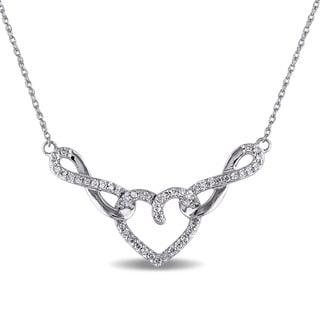 Miadora 10k White Gold 1/5ct TDW Diamond Heart Necklace (G-H, I2-I3)