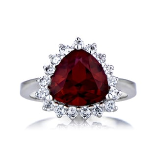Sterling Silver Trillion Cut Garnet CZ Ring