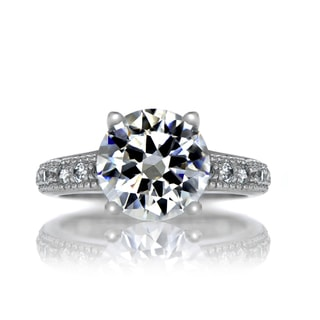 Sterling Silver Round Cut CZ Plus Size Engagement Ring with Pave Band