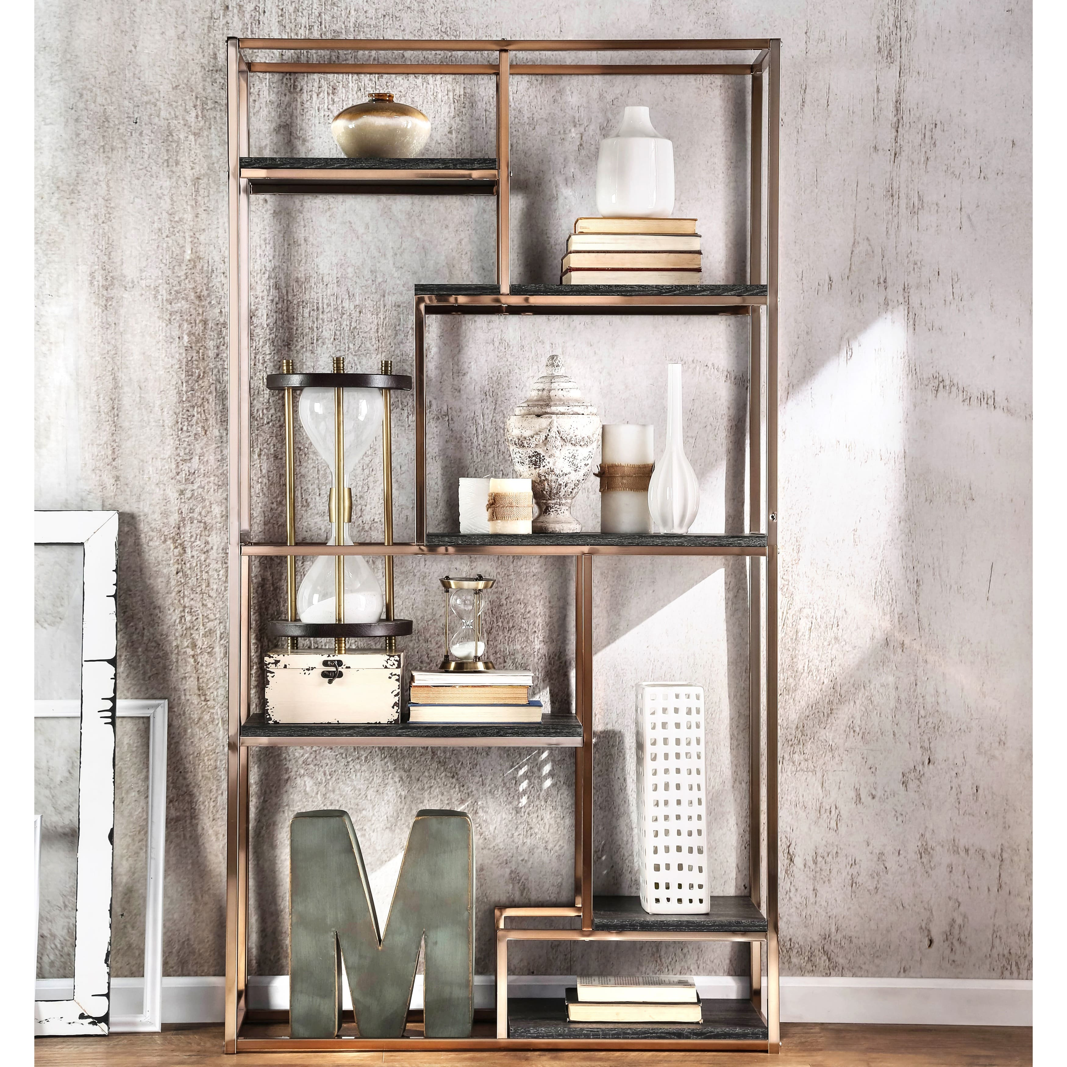Bookshelves bookcases for less for Furniture of america nara contemporary 6 shelf tiered open bookcase