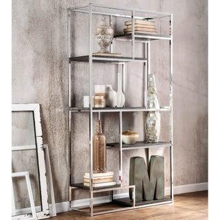 Furniture of America Nara Contemporary 6-Shelf Tiered Open Bookcase (Option: Chrome)