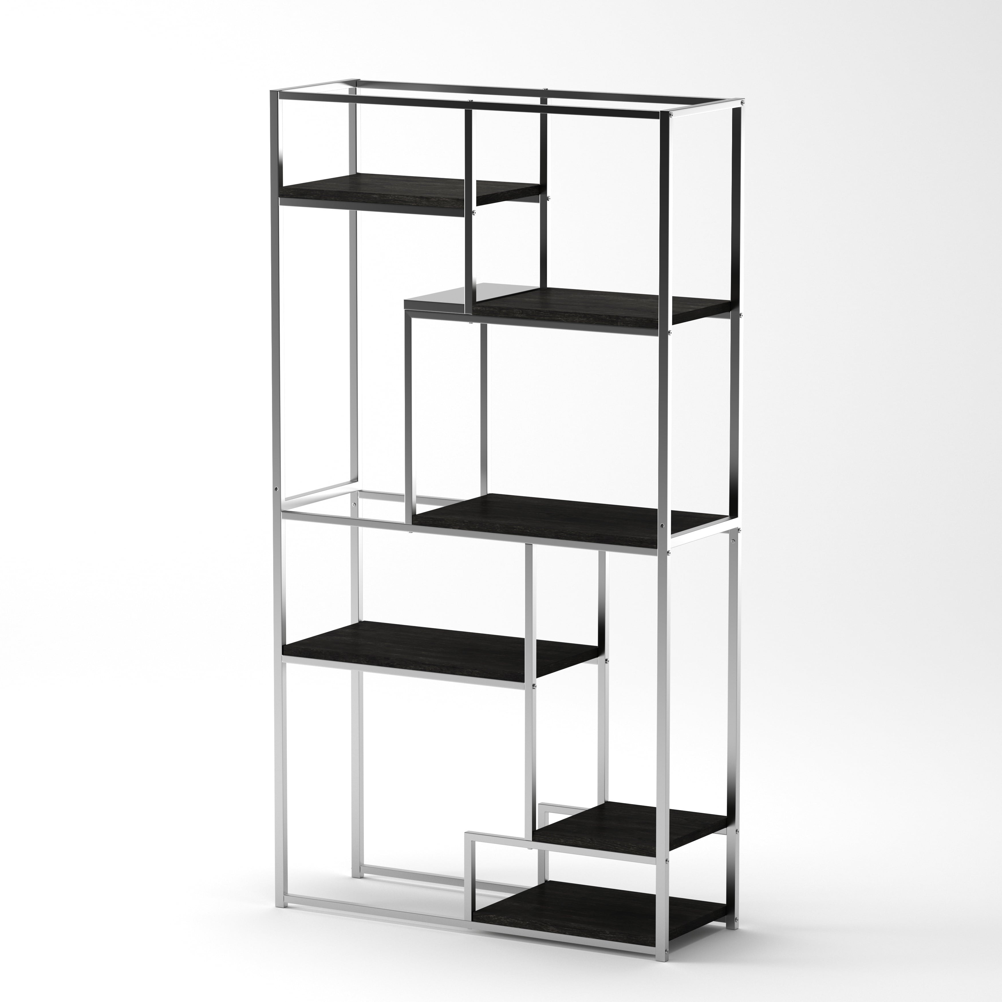 Silver Orchid Viby 6 Shelf Tiered Open Bookcase