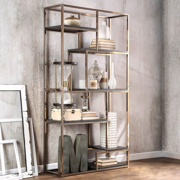 furniture of america nara contemporary 6 shelf tiered open bookcase - Overstock Bookshelves