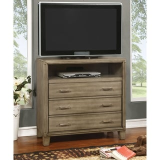Furniture of America Sunjan Weathered Elm 3-Drawer Media Chest