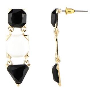 Black and White Triple Drop Earrings