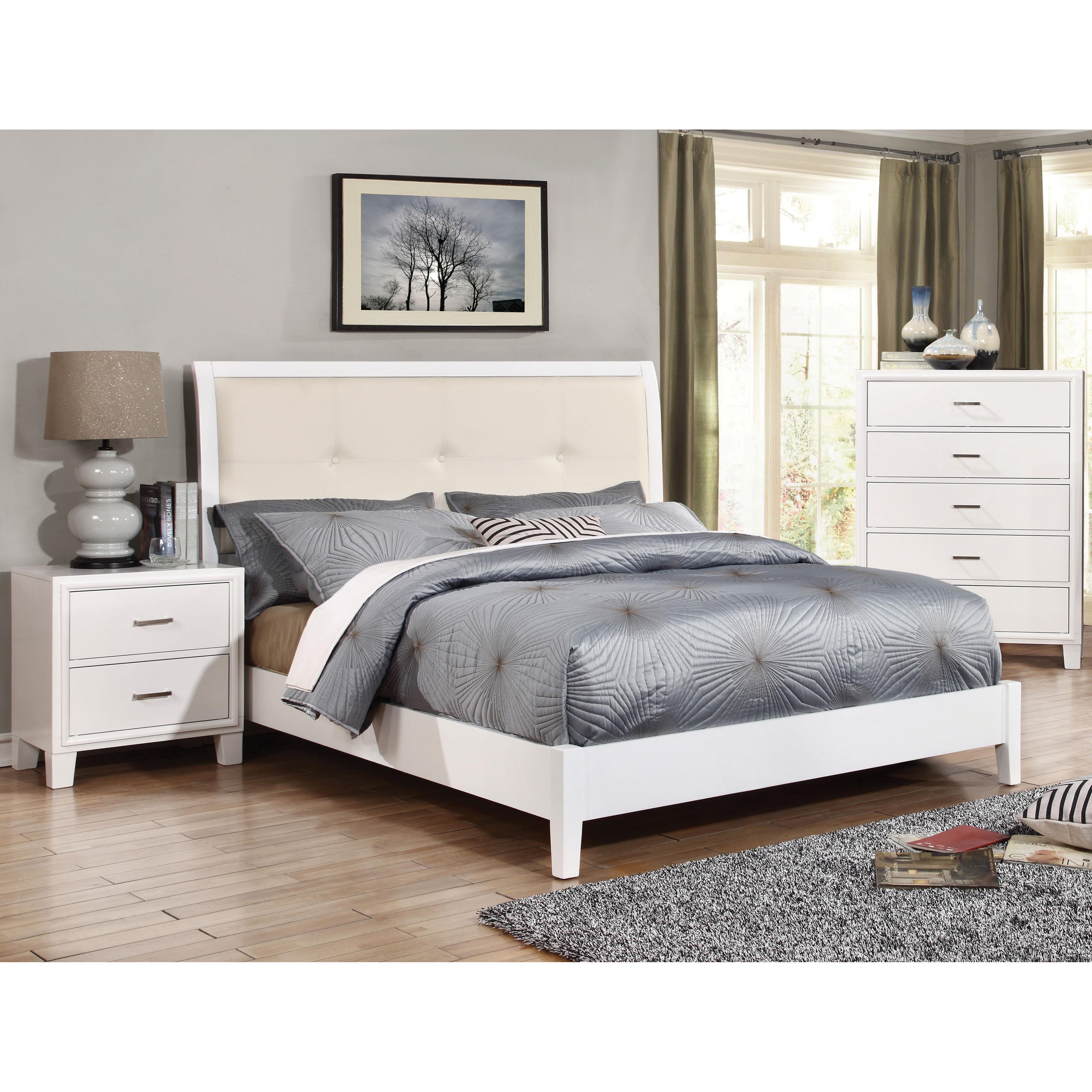 Furniture of America Sunjan White Platform Bed (Queen), B...