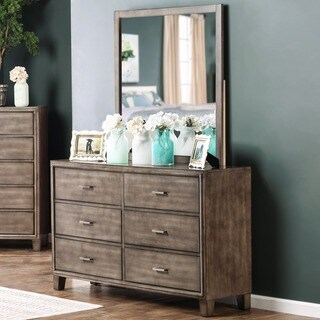 Furniture of America Sunjan Weathered Elm 2-piece Dresser and Mirror Set