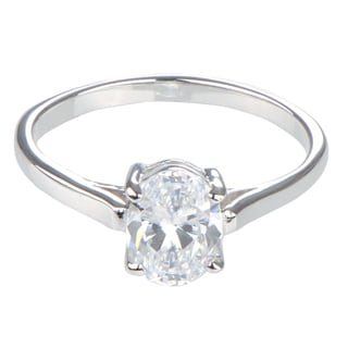 Sterling Silver Oval Cut CZ Engagement Ring
