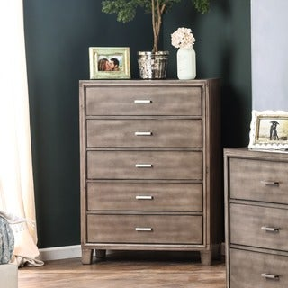 Furniture of America Malt Rustic Grey Solid Wood 5-drawer Chest