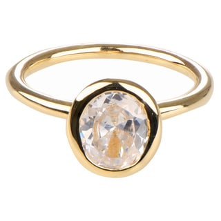 Sterling Silver Oval Cut CZ Engagement Goldtone Ring