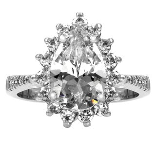 Sterling Silver Pear CZ Cocktail Ring